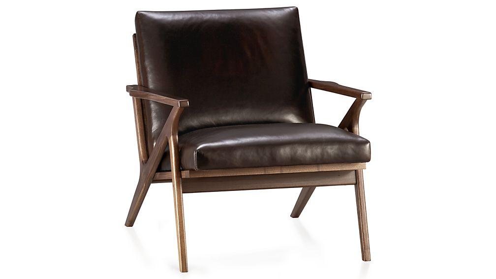 leather chairs cavett leather wood frame chair EKQAMQN