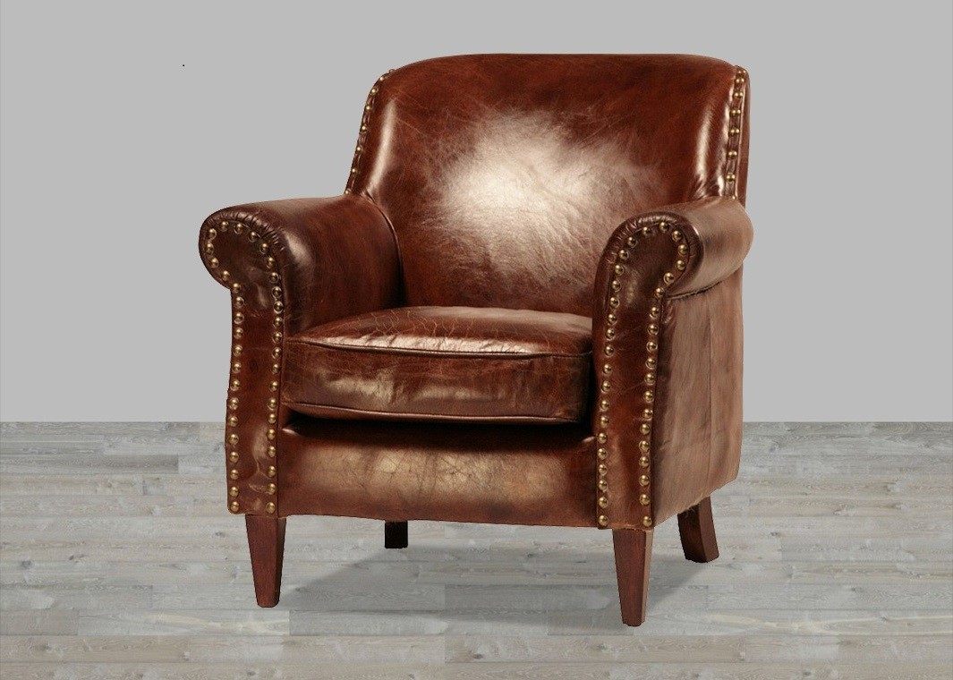 Charmant Leather Chairs Hand Finished Vintage Leather Club Chair With Antique Brass  Nailheads GLUTPWA