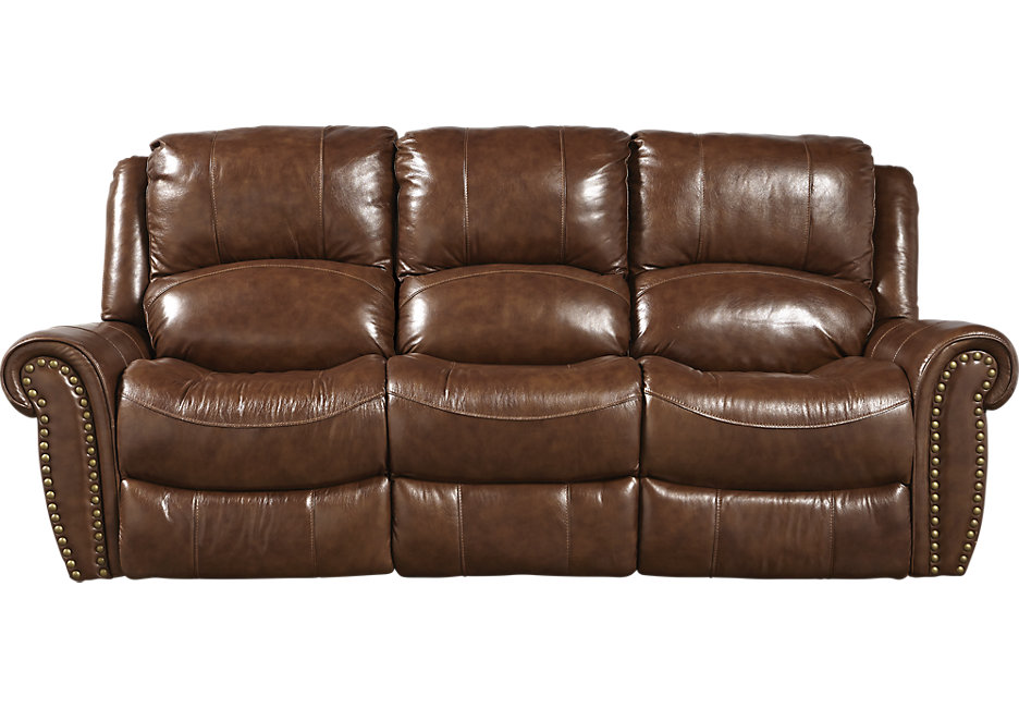 leather recliner sofa abruzzo brown leather reclining sofa - leather sofas (brown) CZZZOBE