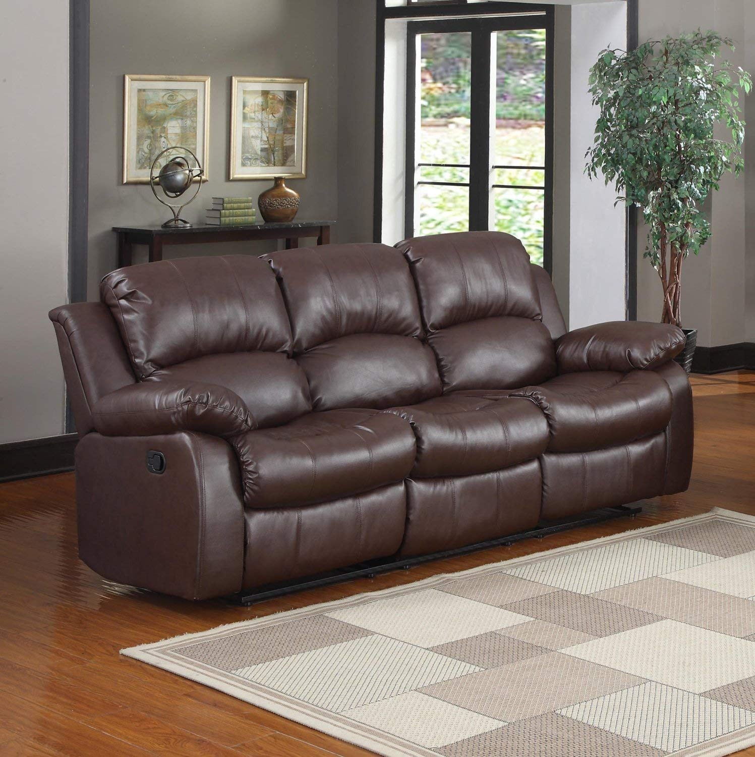 leather recliner sofa amazon.com: bonded leather double recliner sofa living room reclining couch CMHWVLX