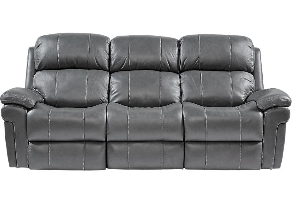 leather recliner sofa trevino smoke leather power reclining sofa - sofas (gray) GGQFPIH