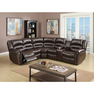 leather sectional sofas bonded leather 3 piece reclining sectional, brown RUYAVGM