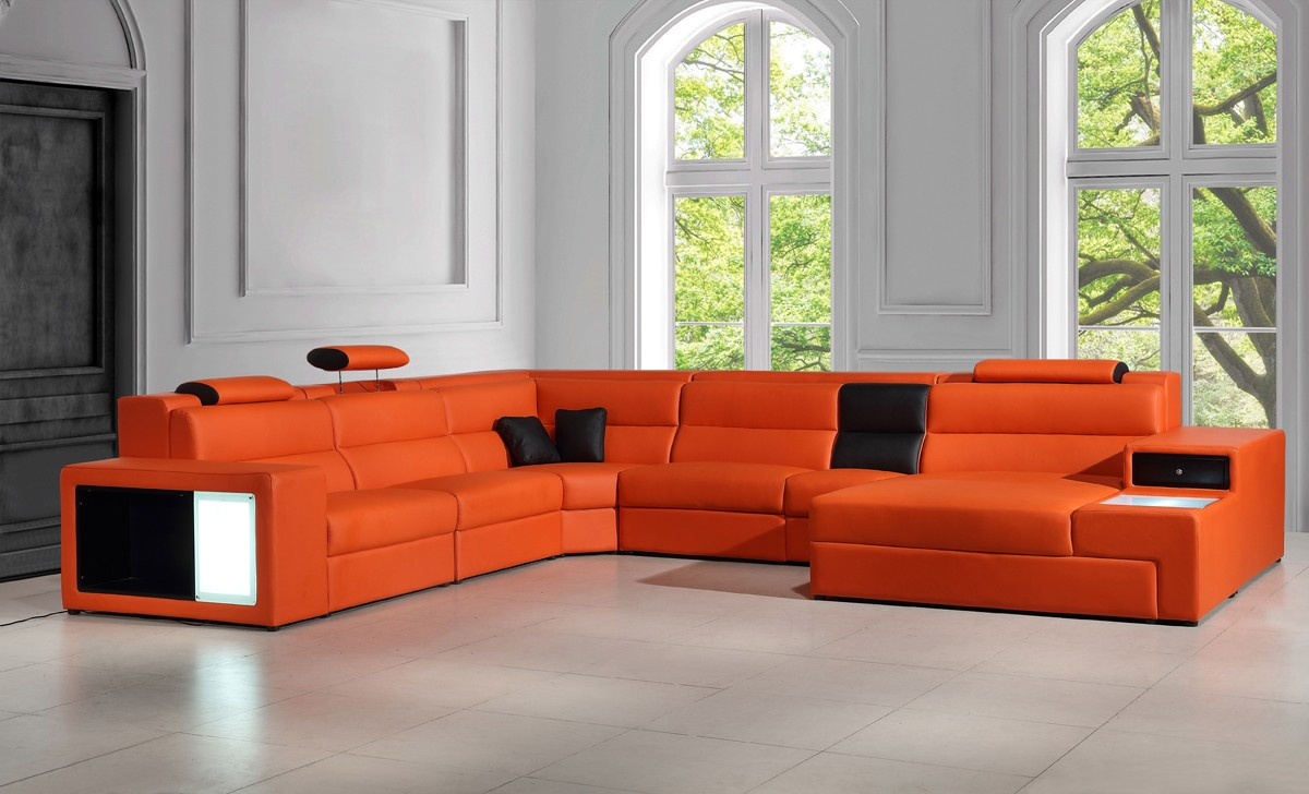 leather sectional sofas divani casa polaris - contemporary bonded leather sectional sofa HUDYDQD
