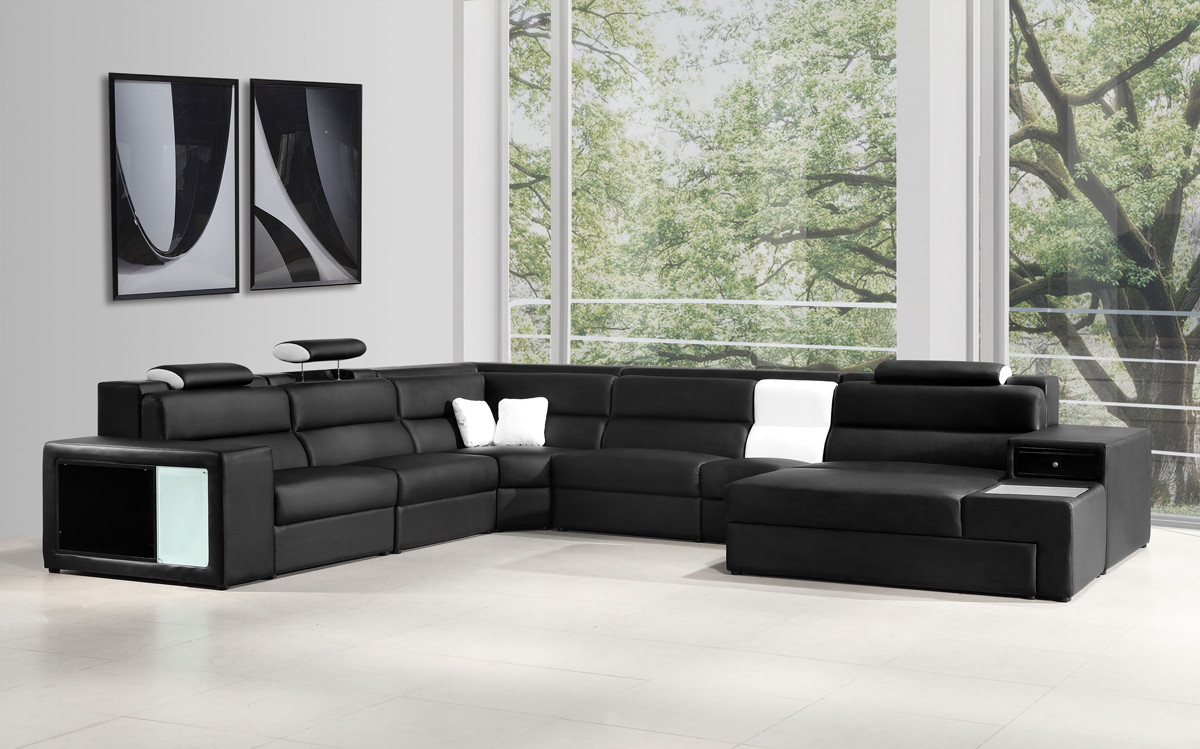 leather sectional sofas polaris italian leather sectional sofa in black EZMHCFX