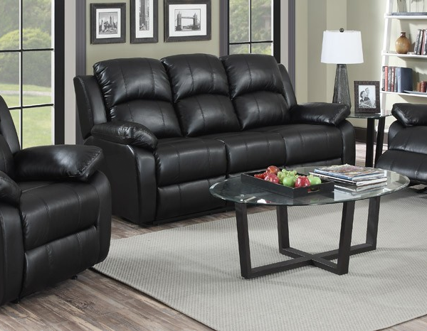 leather sofa set jordan 3 + 1 + 1 seater black recliner leather sofa TTOOYKU