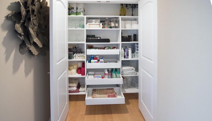 linen closets custom hallway closet with pull-out shelves QGXRMXS