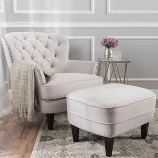 living room chairs tafton tufted fabric club chair with ottoman by christopher knight home YLGJZNM