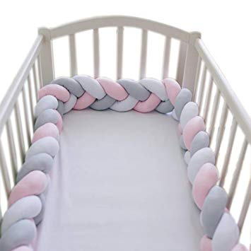 loaol baby crib bumper knotted braided plush nursery cradle decor newborn KHNDEGV
