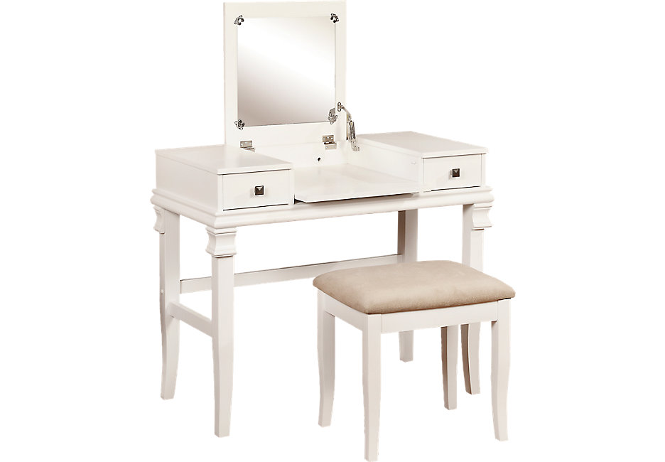 messana white vanity, mirror and stool set - accent pieces colors MTPOXAH