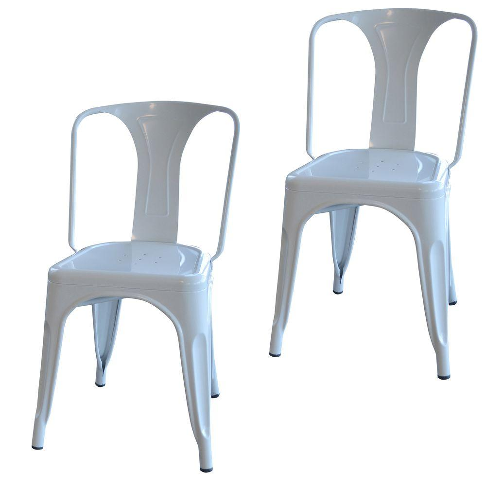 metal chairs amerihome white metal dining chair (set of 2) CAURCBH
