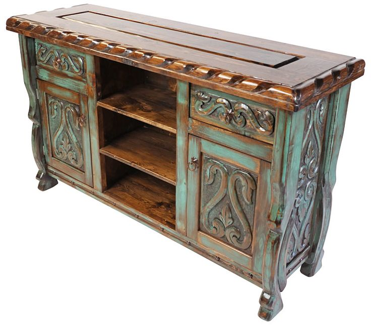 mexican furniture green patina painted wood carved floral buffet with scalloped edge top. MCGVUVG