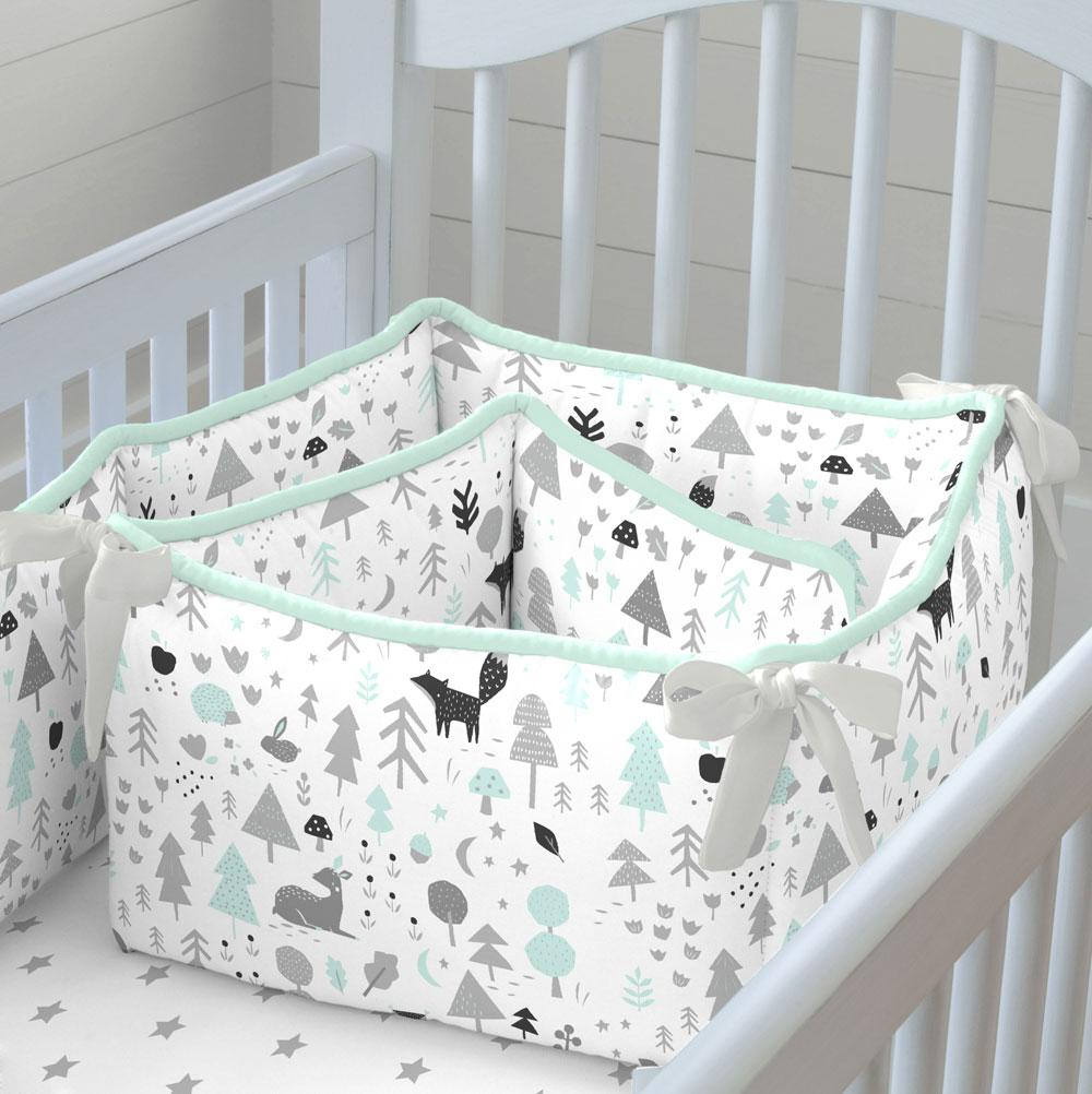 mint and gray baby woodland crib bumper ZLANMZL