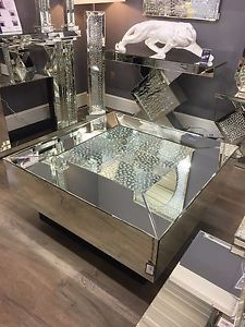 mirrored coffee table image is loading large-square-illusion-mirrored-coffee-table -silver-floating- TMJENGM