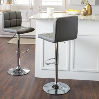 modern bar stools clay alder home galena chrome and faux leather height-adjustable barstools YYVOLBL
