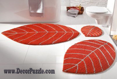 modern bathroom rug sets and bath mats 2018, orange bathroom rugs ZHTVURK
