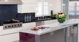 modern kitchens modern kitchen with black tile backsplash OUYFEGT