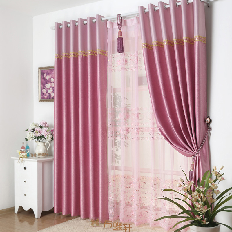 modern patterned pink floral window curtains design LZGOGVT