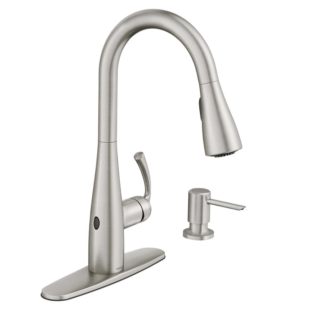 moen essie touchless single-handle pulldown sprayer kitchen faucet in spot RSJKQLQ