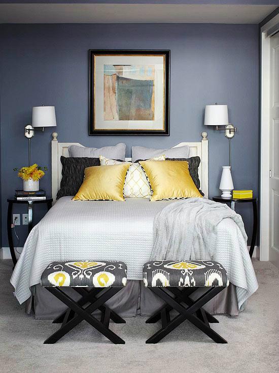 mustard, black, cream and gray bedroom color scheme MUOWOXB