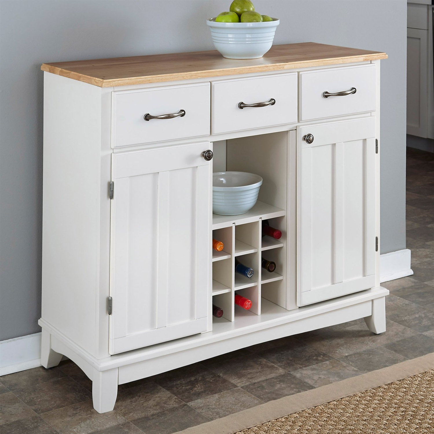 natural wood top kitchen island sideboard cabinet wine rack in white SOQHJPH