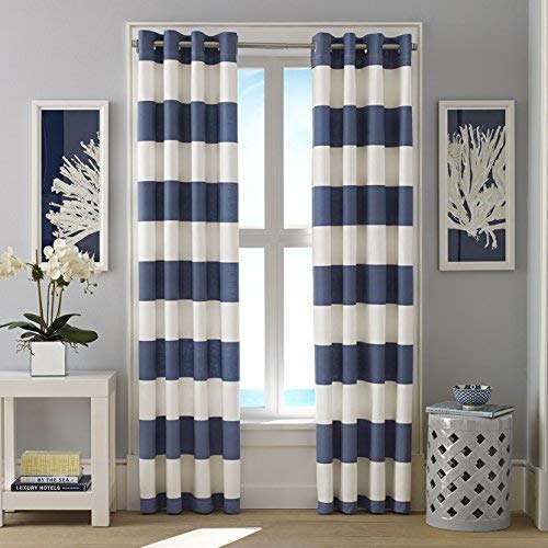 nautical curtains nautica cabana stripe drape set, cadet blue MGHSFSE