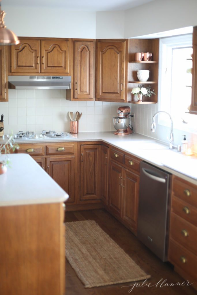 oak kitchen cabinets ideas to update oak kitchen or bathroom cabinets without paint. including SHGCVPI