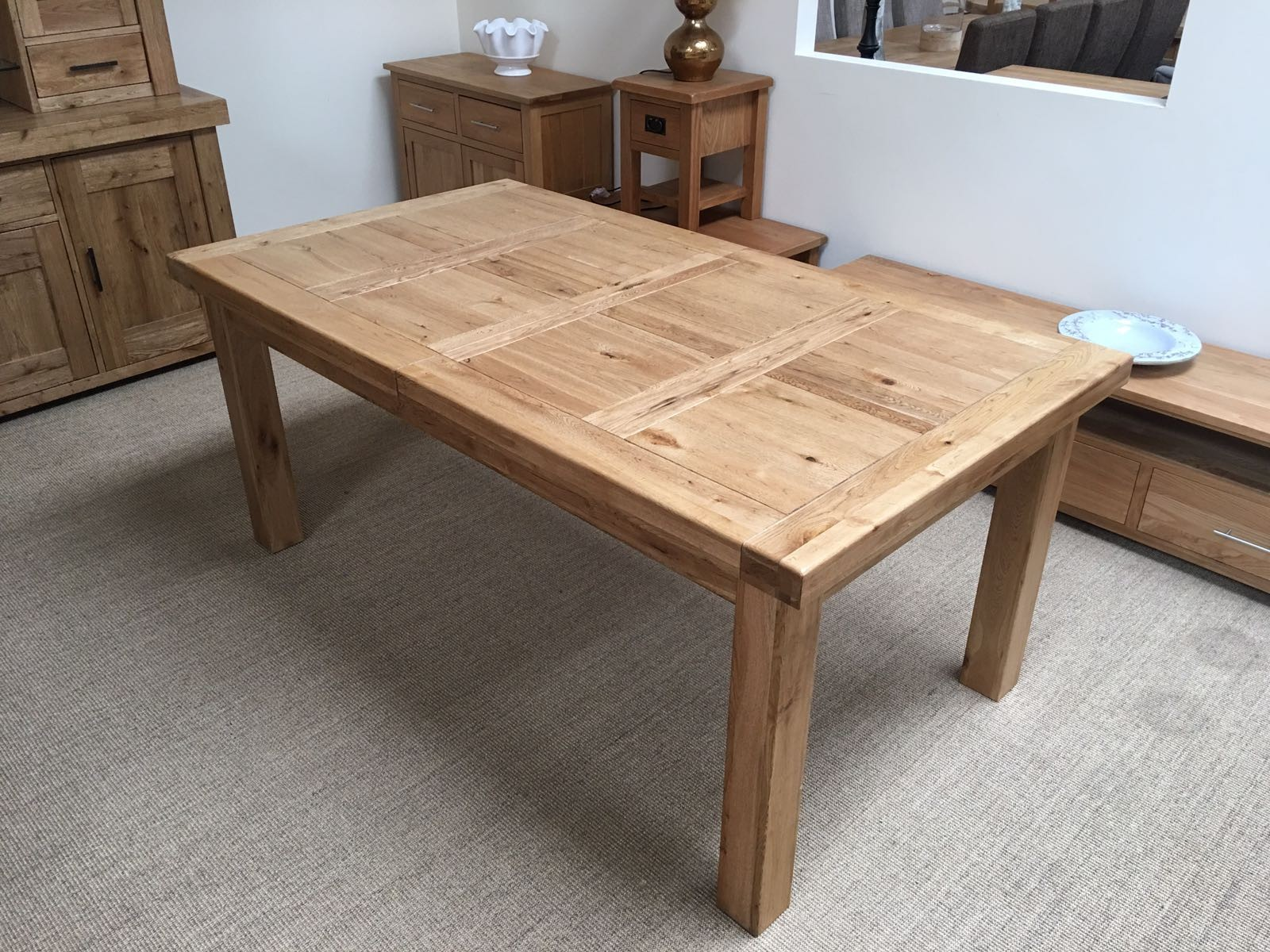 Oak table attractive extendable dining set 2 oakita oxford solid oak extending table shaqowk