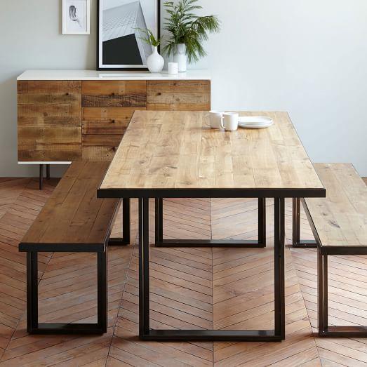oak table industrial oak + steel dining table MFDJGEG