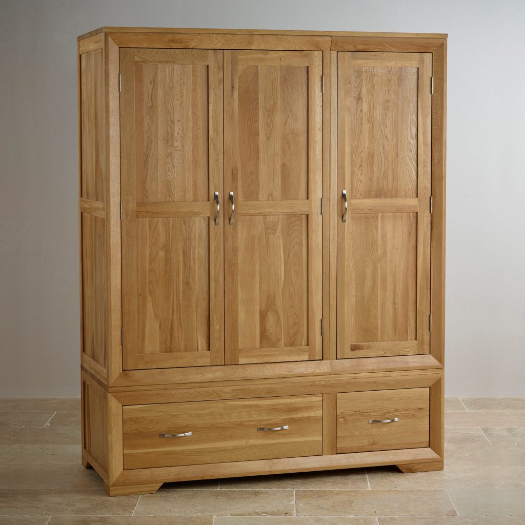 oak wardrobe ... bevel natural solid oak triple wardrobe oak furniture land on QGKXHFQ