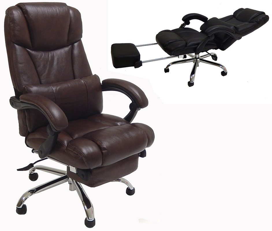 office chairs leather reclining office chair w/ footrest QCCXBYU