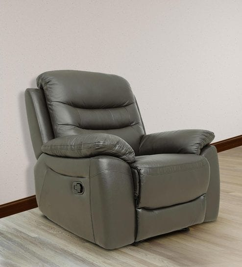 one seater manual recliner sofa in half leather dark brown colour VWMMVBZ