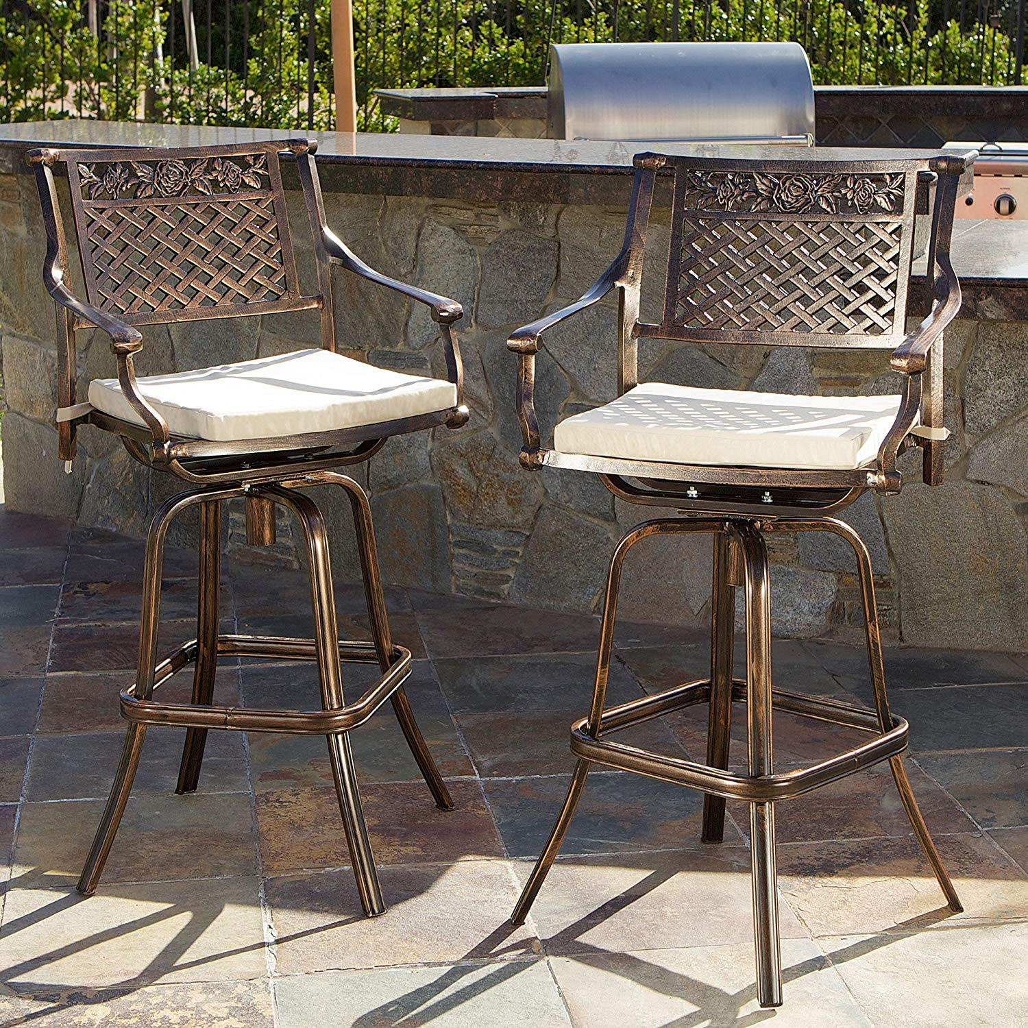 outdoor bar stools amazon.com : sierra outdoor cast aluminum swivel bar stools w/cushion (set MTXAJVR