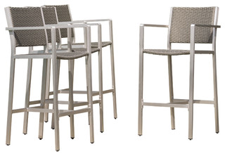 outdoor bar stools capral outdoor wicker bar stools, set of 4, gray - contemporary XLIVOAE