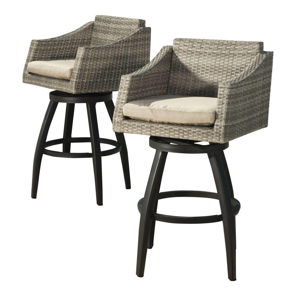 outdoor bar stools rst brands cannes all-weather wicker motion patio bar stool with slate YAVFOVU