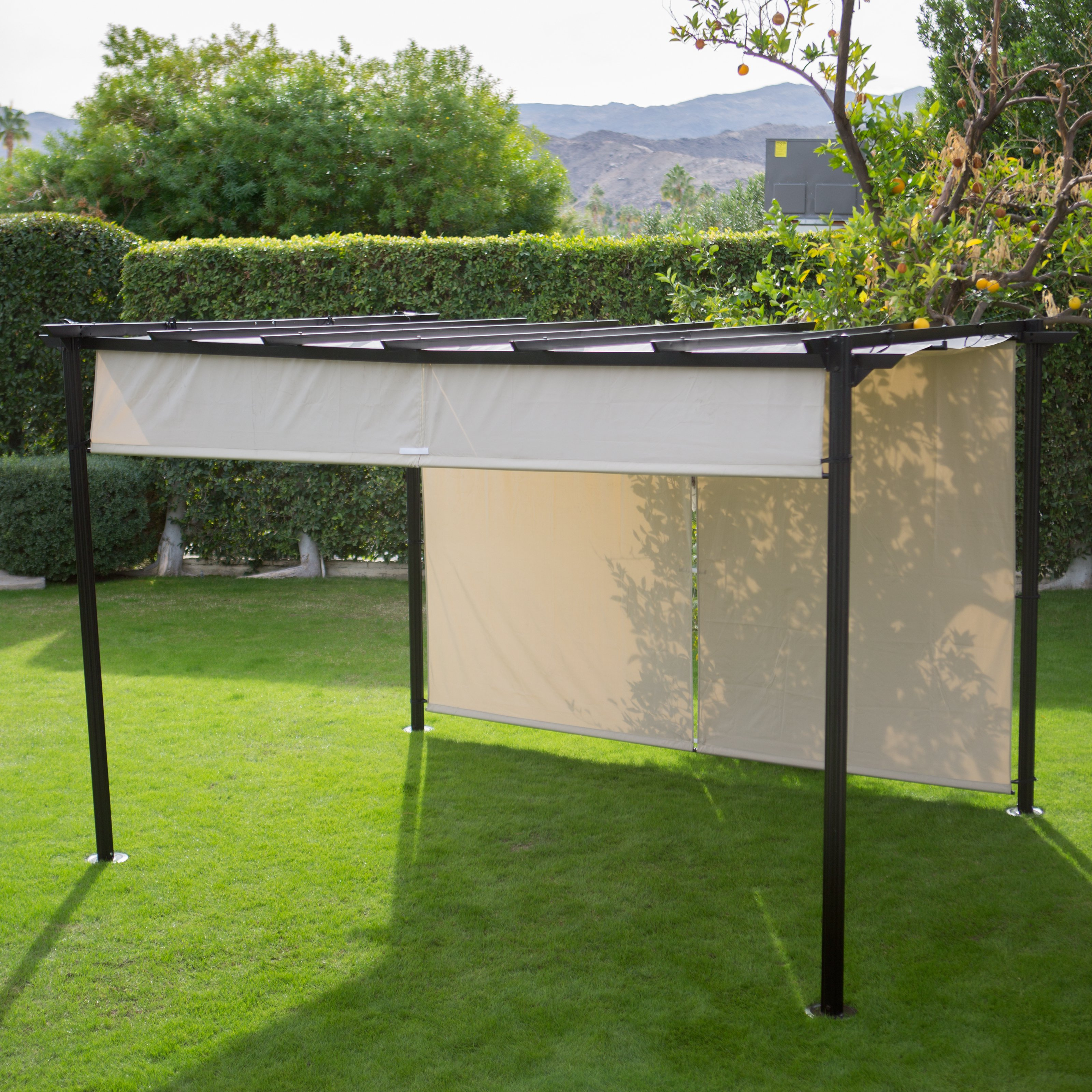 outdoor canopy belham living steel outdoor pergola gazebo with retractable canopy shades | IRNEOQP