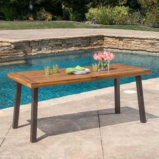 outdoor dining table della outdoor acacia wood rectangle dining table by christopher knight home EPZXFOY