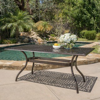 outdoor dining table hallandale outdoor aluminum rectangle bronze dining table by christopher  knight TOLGKKW
