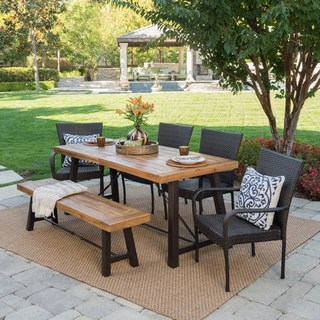 outdoor dining table salons outdoor 6-piece rectangle wicker wood dining set by christopher ISBPFSZ