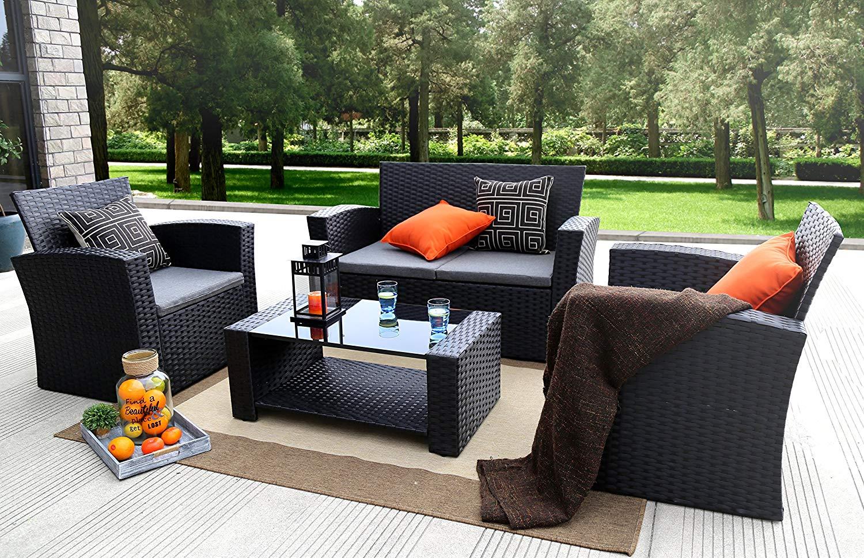 Outdoor Garden Furniture Amazon Baner N87 4 Pieces