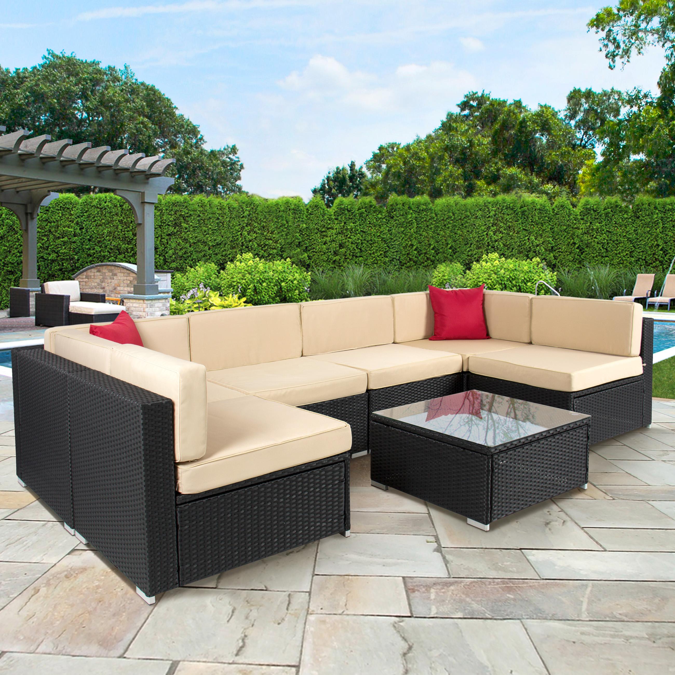 outdoor garden furniture baner garden 4-piece outdoor furniture complete set, black - walmart.com QUPROPT