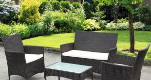 outdoor garden furniture costway 4 pc patio rattan wicker chair sofa table set outdoor QCMJFVY