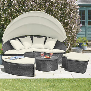 outdoor garden furniture image is loading rattan-daybed-amp-table-garden-furniture-outdoor-patio- WWTFRGB