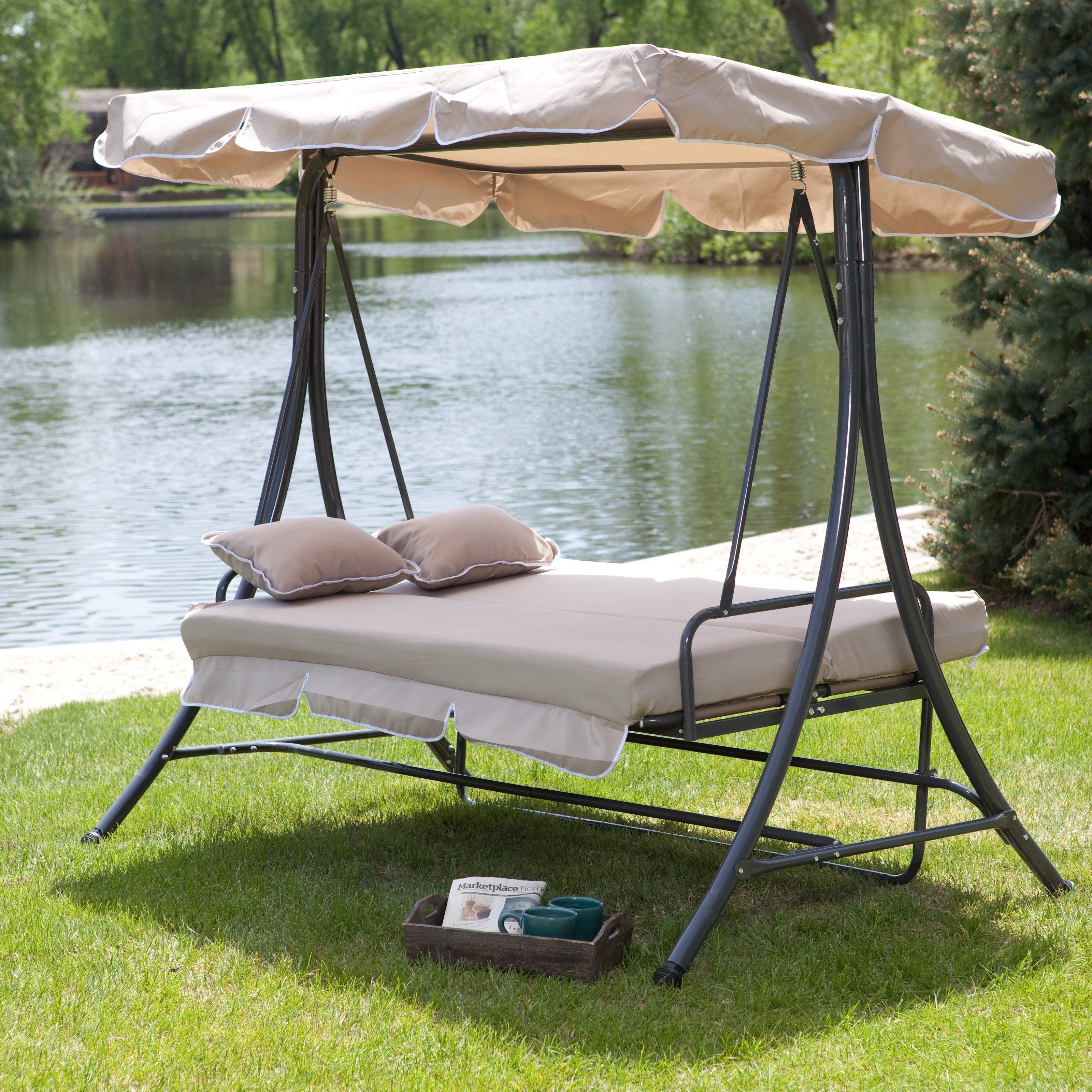 outdoor swings coral coast lazy caye 3 person all-weather swing bed with toss TANYONH