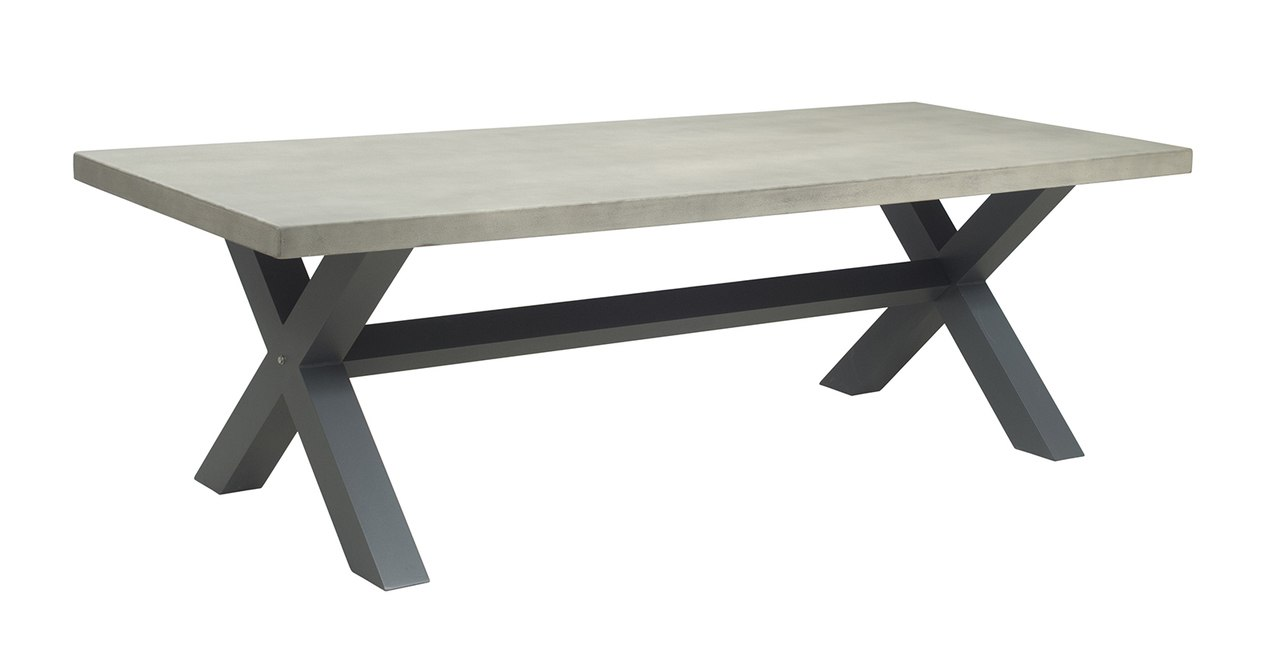 outdoor tables new york industrial 2.4m light grey outdoor poly-cement dining table JQMPLKA
