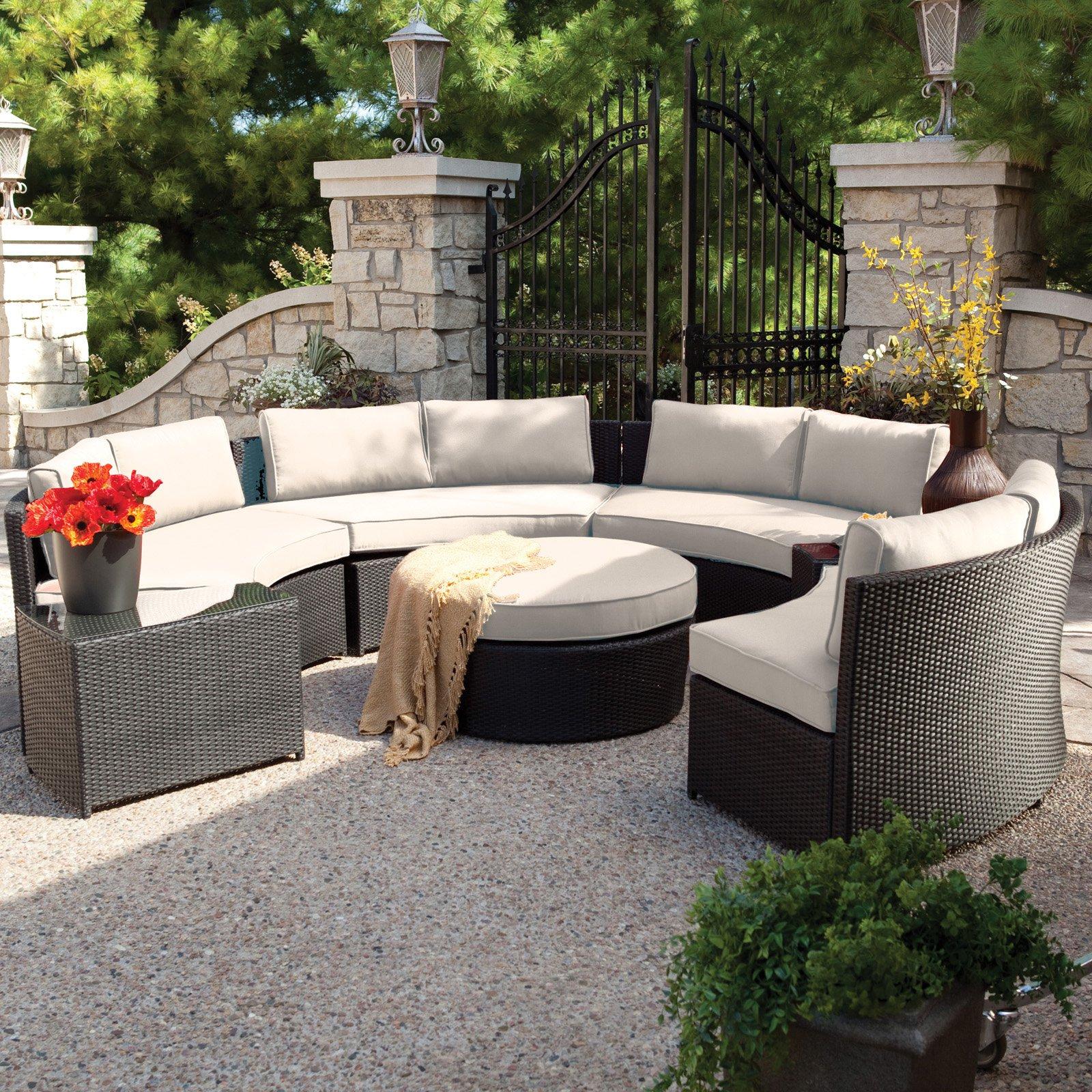 outdoor wicker furniture belham living meridian round outdoor wicker patio furniture set with ZQYNDZR