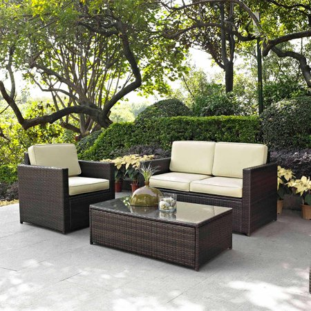 outdoor wicker furniture crosley furniture palm harbor 3-piece outdoor wicker seating set - SUDQASA