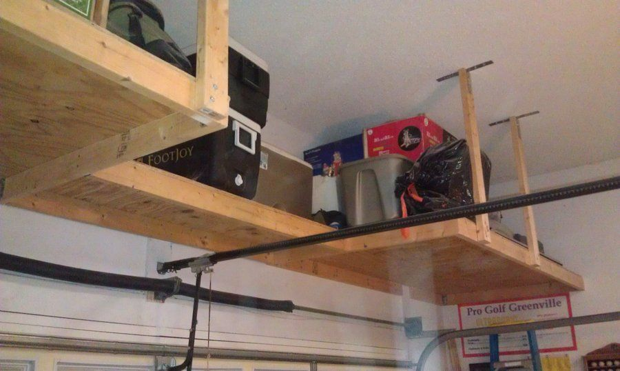 overhead garage storage over garage door shelf | above garage door storage BUIOIAV