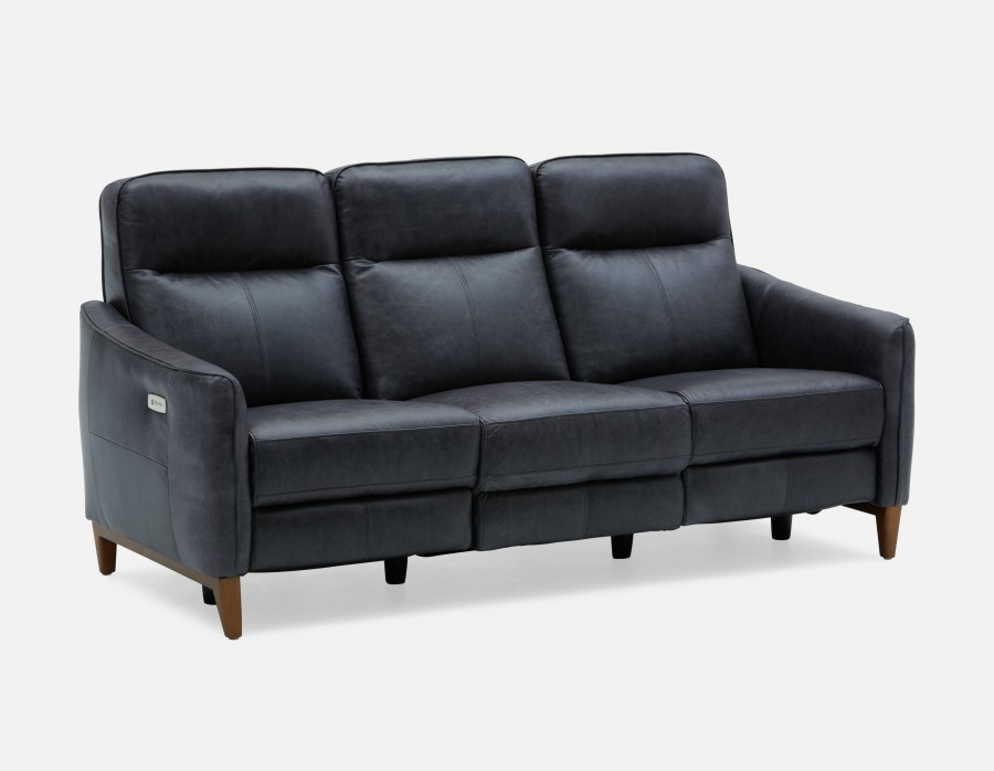 palmer - 100 % leather power recliner sofa - black OFWXGNR