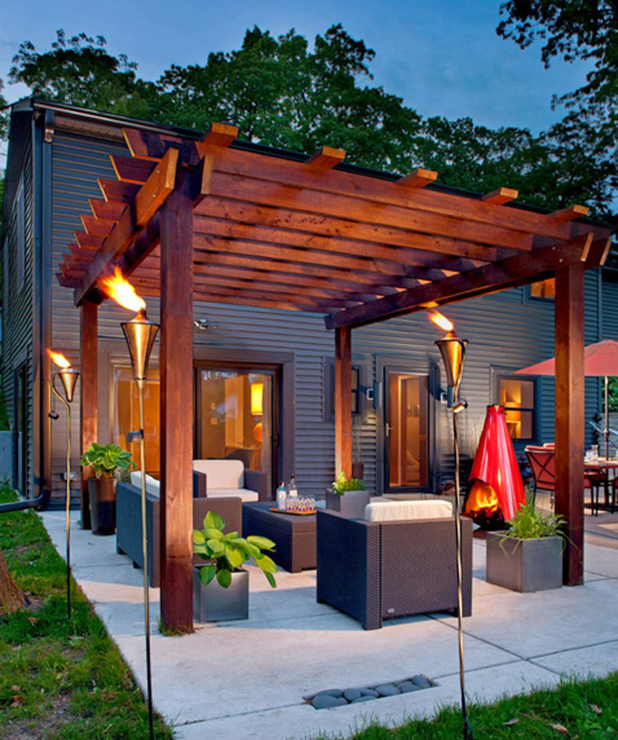 patio design ideas 1. turn up the heat with a glowing pergola GIZBUUV
