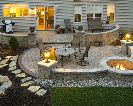 patio ideas stone patio with fire pit | hgtv and decorating ideas / ALAHVYN